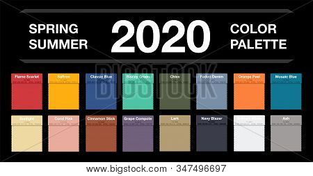Spring And Summer 2020 Colors Palette On Black. Fashion Trend Guide. Palette Fashion Colors Guide Wi