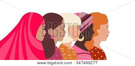 Women Of Different Nationalities, Faith And Skin Color Together. Greeting Card, Banner International