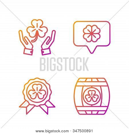 Set Line Wooden Barrel With Four Leaf Clover, Medal With Four Leaf Clover, Human Hands Holding Four