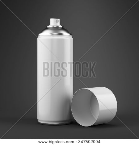 Blank aluminum white can of spray paint on gray background - 3d rendering.