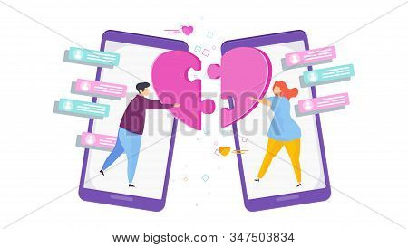 Dating Site. Love Chat. Coincidence, Sympathy. Search For Partner On Internet. Flat Trending Vector