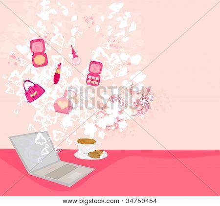 Online Mode-shopping abstrakte Poster, Vektor-illustration