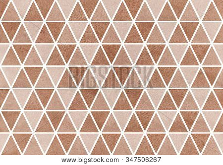 Watercolor Brown Triangle Pattern. Watercolor Geometric Pattern.