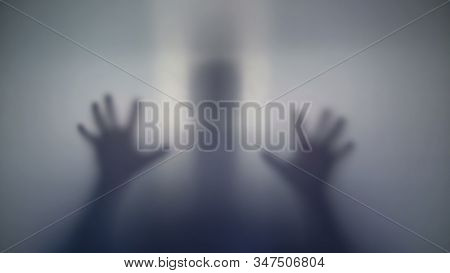 Unknown Silhouette Quietly Sneaking Up, Intimidating People, Strange Creature