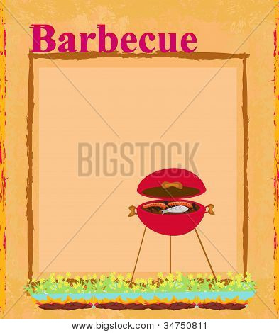 Barbecue Party Invitation with copy space , vector illustration poster