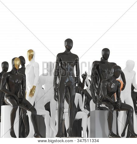 Female Mannequin And Two Male Mannequins Against The Background Of A Group Of Mannequins In Differen
