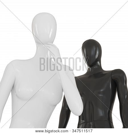 Female Black Mannequin And White Male Mannequin On A White Background Torso Zone. 3d Rendering