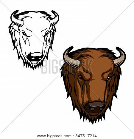 Bison Animal Head, Head Of Brown Bull Or Buffalo With Horns. Vector Wild Mammal With Aggressive Muzz