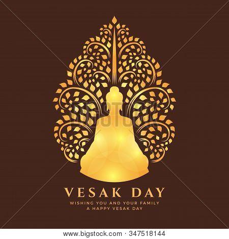 Visak Day With Gold Light Buddha Meditation Under Bodhi Tree Sign On Brown Background Vector Design