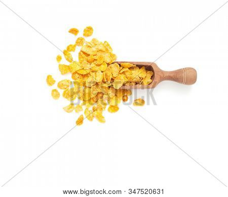 Healthy food concept -Corn flakes in scoop on white background