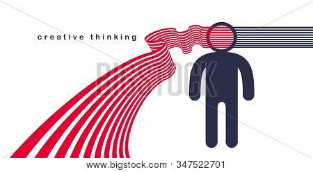 Creative Mind Brain Vector Concept In Flat Trendy Design Style, Stripes Goes Out Of Man Head Symboli