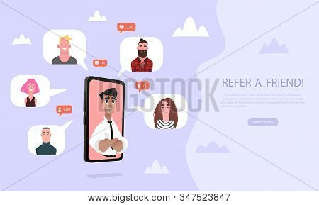 Refer A Friend Concept Illustration. Cartoon Hands Holding A Phone With A List Of Friends Contacts.