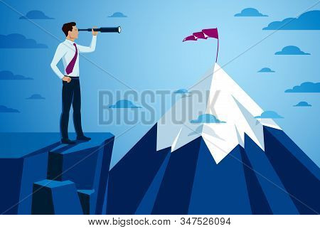Businessman Looking For Opportunities In Spyglass Standing On Top Peak Of Mountain Business Concept