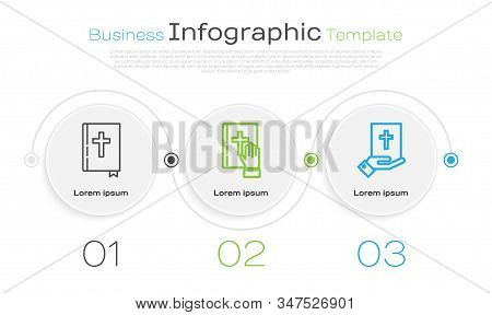 Set Line Holy Bible Book, Oath On The Holy Bible And Oath On The Holy Bible. Business Infographic Te