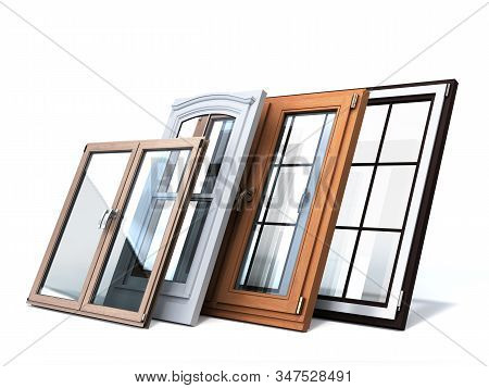 Different Tipes Of Window Sale Promotion Background 3d Render On White
