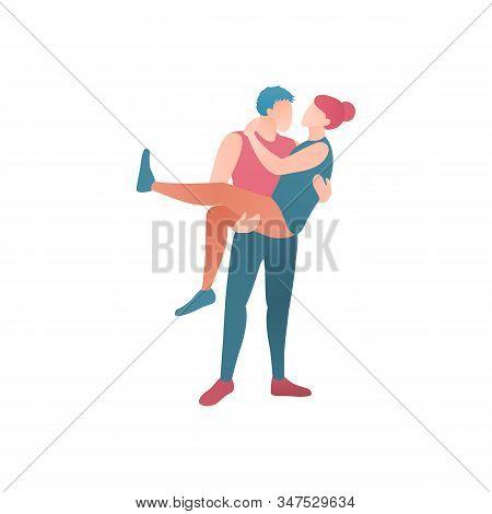 Man Embrace Woman Flat Design Illustration. Couple Sweetheart Man And Girl At Valentines Day. Boyfri