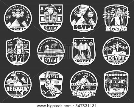 Ancient Egypt, Travel And Religion Vector Icons. Egyptian Pharaoh Pyramids, Sphinx And Cat, Anubis A