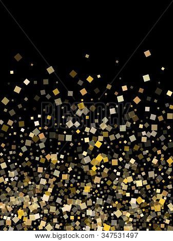 Carnival Gold Square Confetti Sparkles Flying On Black. Vip New Year Vector Sequins Background. Gold