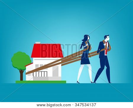 House Loan. Concept Finance And Economy Vector Illustration, Relocation, Effort, Monving House.