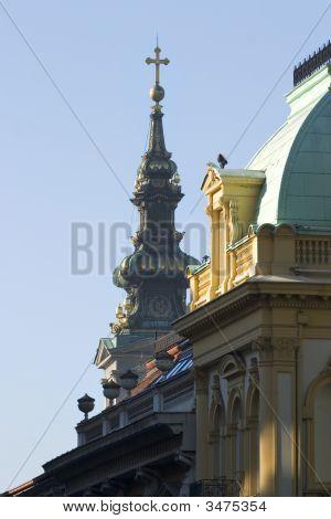 Street View Of Orhodox Church Bell Tower In Belgrade, Serbia