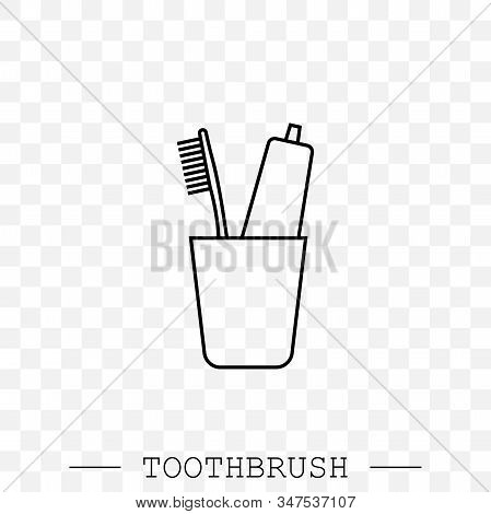 Vector Line Icon Of Toothbrush And A Tube Of Toothpaste In Glass. Toothbrush Icon Vector. Teeth Clea