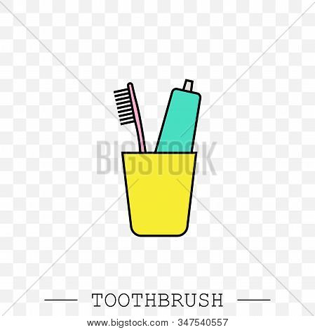 Vector Color Icon Of Toothbrush And A Tube Of Toothpaste In Glass. Toothbrush Icon Vector. Teeth Cle