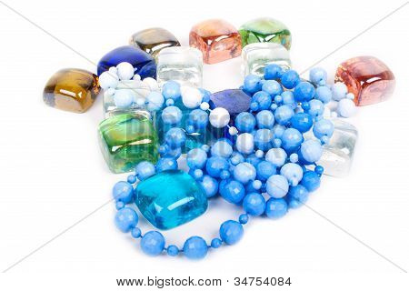 Beads and pieces of glass