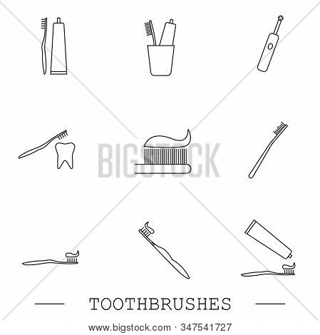 Toothbrush Icon Set. Teeth Cleaning. Electric Or Conventional Toothbrushes. Line With Editable Strok