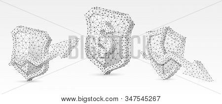 Security Shield With Usd, Growth And Downtrend Arrow Symbols Set. Low Poly, Wireframe, Digital 3d Ve