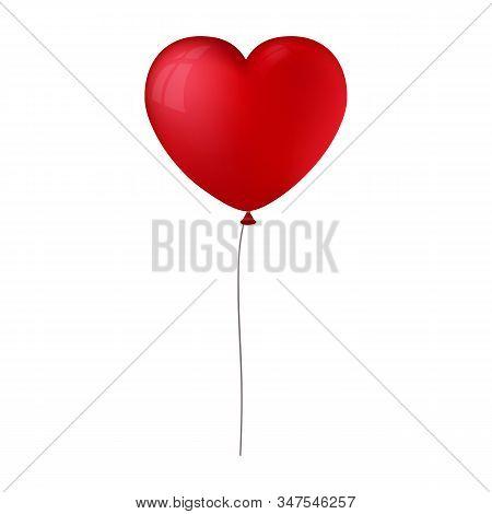 Vector Illustration Or Read Heart Shape Balloon On White Background