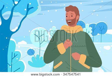 Male Spending Weekends Outdoors, Winter Landscape Scenery. Man Wearing Warm Clothes Enjoying Frosty