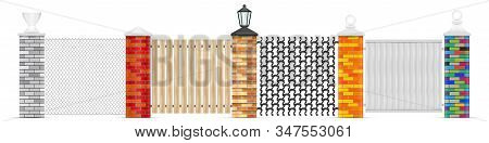 Brick Fence Posts Vector Isolated. Brick Vector Pillars Of Different Colors With Variuos Top Head De