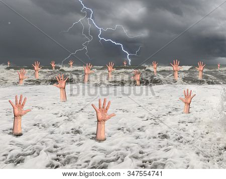 A Man Drowns In The Sea During A Storm. Hand Of A Drowning Man From Under The Water. Concept: Saving