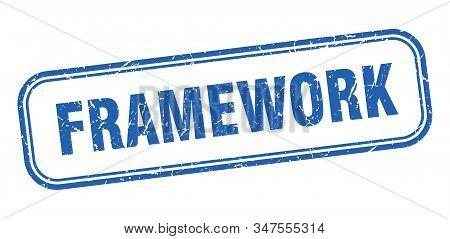 Framework Stamp. Framework Square Grunge Blue Sign