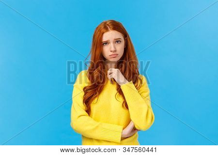 Upset Redhead Girl Showing Empathy, Pity For Friend Hearing Sad News, Frowning And Sulking Feeling U