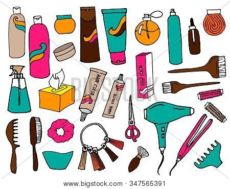 Collection Of Hairdressing, Coiffure And Make-up Accessories Stickers. Set Of Vector Objects Isolate