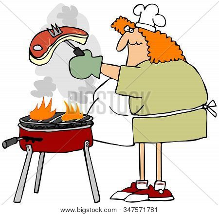 Illustration Of A Fat Redheaded Woman Wearing An Apron Barbecuing A Big Steak On A Charcoal Grill.