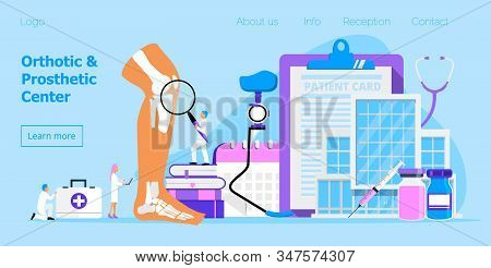 Prothesis And Orthopedic Center Concept Vector For Website. Tiny Doctors Offer Runner Leg Prosthesis