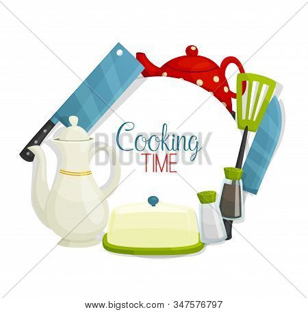 Kitchen Utensil And Cutlery, Cooking Items Vector Frame. Chef Knives, Teapots And Spatula, Salt And