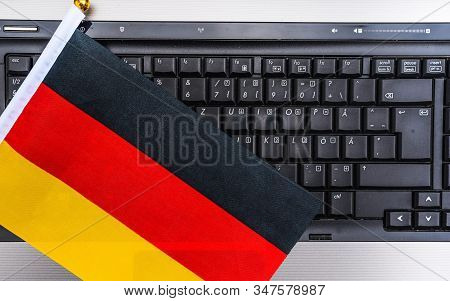 Flag Of Germany On Computer, Laptop Keyboard