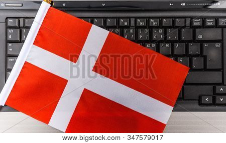 Flag Of Denmark On Computer, Laptop Keyboard