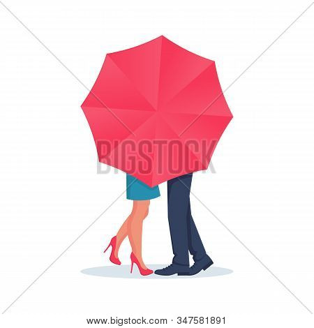 Amorous Couple Guy And Girl Kiss Behind An Umbrella. Love Couple Kiss, Boy And Girl. A Romantic Date