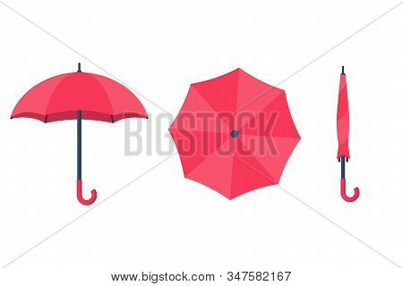 Set Of Umbrellas. Top View, Front And Folded Umbrella. Rain Protection On White Background Isolated.