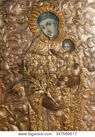 Ancient Christian Icon Covered With Gilded Riza (oklad, Revetment).