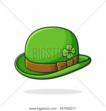 Vector Illustration. Isometric View Of Green Retro Bowler Hat With Clover. Saint Patrick`s Day Symbo