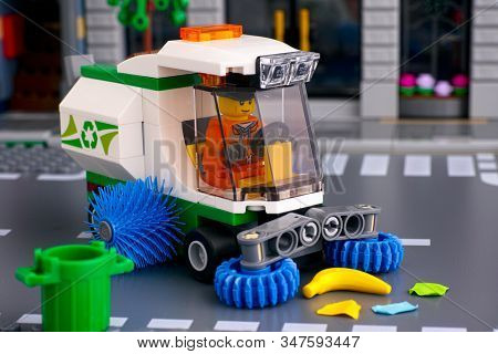 Tambov, Russian Federation - January 17, 2020 Lego Street Sweeper Toy Truck With Brushes With Driver
