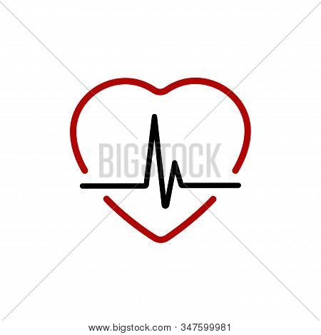 Heartbeat Line With Heart Red. Heart Beat Line Black Icon With Red Heart In Linear Design, Isolated
