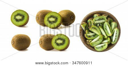 Kiwi Fruit And Slice Isolated On White Background. Tropical Fruits On White. Kiwi With Copy Space Fo