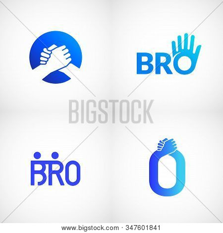 Informal Greeting Handshake Abstract Vector Sign, Emblem Or Logo Templates Bundle. Brotherhood Or Te