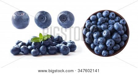 Bilberries Isolated. Fresh Raw Berries Isolated On White Background. Collection. Blueberries On Whit